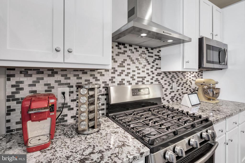 Eye catching tile backsplash and gas range - 46448 RILASSARE TER, STERLING