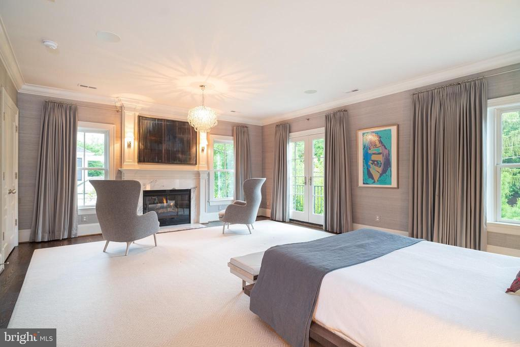 Serene Master Bedroom w/ Fireplace & Balcony - 6303 BROAD BRANCH RD, CHEVY CHASE