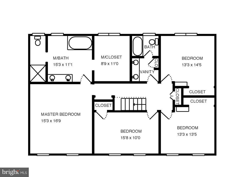 Upper level floor plan. - 6951 GREENTREE RD, BETHESDA