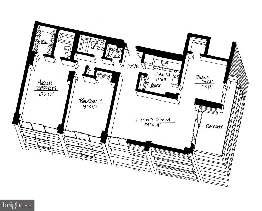 Hyde Park #324 Floor Plan - 1,425 sf! - 4141 HENDERSON RD #324, ARLINGTON