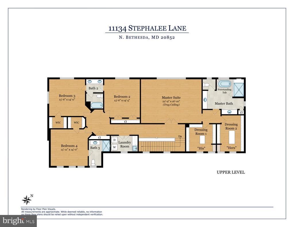 Upper level floor plan. - 11134 STEPHALEE LN, NORTH BETHESDA
