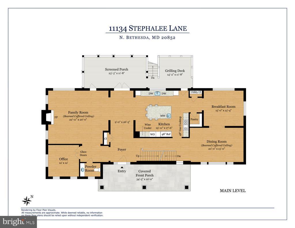 Main level floor plan. - 11134 STEPHALEE LN, NORTH BETHESDA