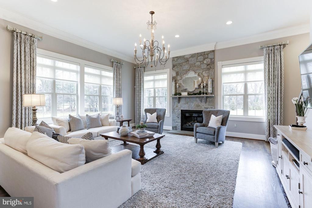 Family room with gas fireplace and 14' ceilings - 38261 VALLEY RIDGE PL, HAMILTON