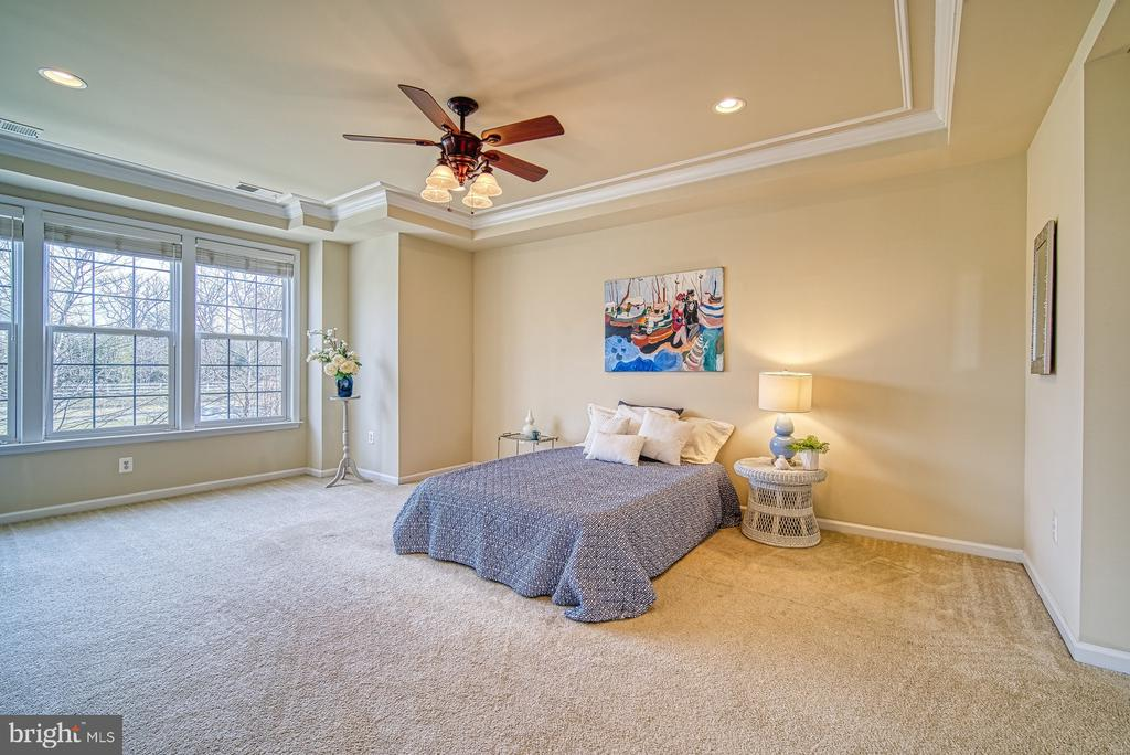 Master bedroom with tray ceiling & recessed lights - 19348 GARDNER VIEW SQ, LEESBURG