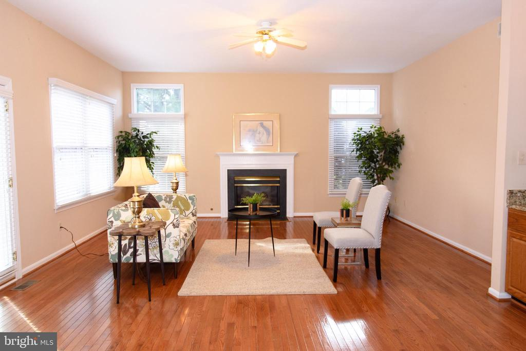 Family room with gas fireplace - 47400 GALLION FOREST CT, STERLING