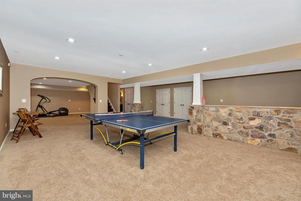 Lower level recreation room with custom stonework - 5218 MUIRFIELD DR, IJAMSVILLE