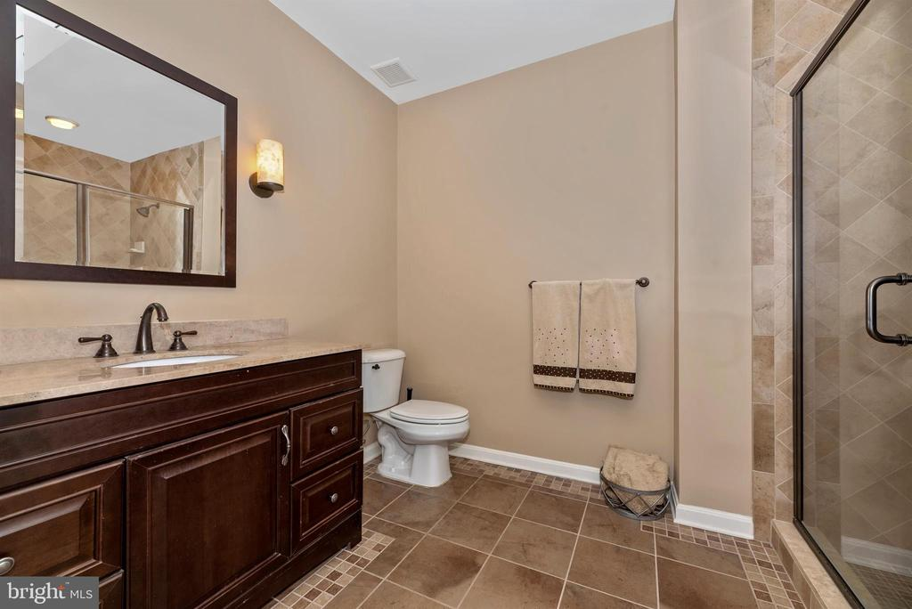 Lower level full bath with seamless shower door - 5218 MUIRFIELD DR, IJAMSVILLE
