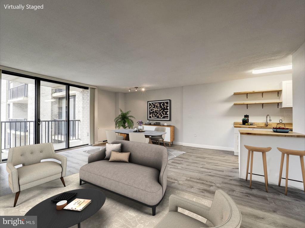 Living Room Design Concept | Virtually Staged - 4242 EAST WEST HWY #901, CHEVY CHASE