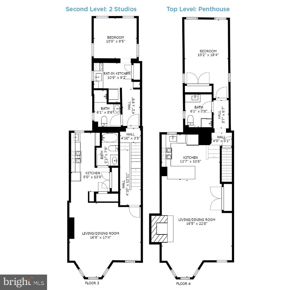 Floor Plans - Studio Units + Penthouse - 1932 15TH ST NW, WASHINGTON