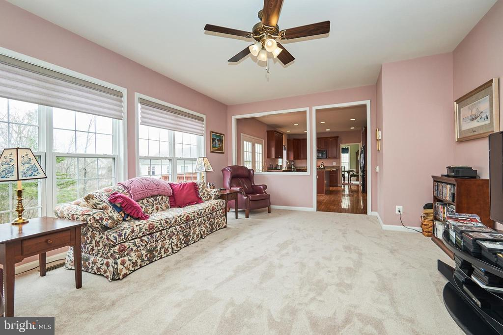 Family room with lighted ceiling fan - 5947 TUMBLE CREEK CT, HAYMARKET