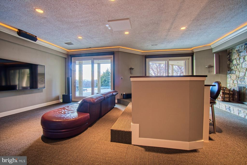 The home theater room w/electric blackout blinds - 40310 HURLEY LN, PAEONIAN SPRINGS