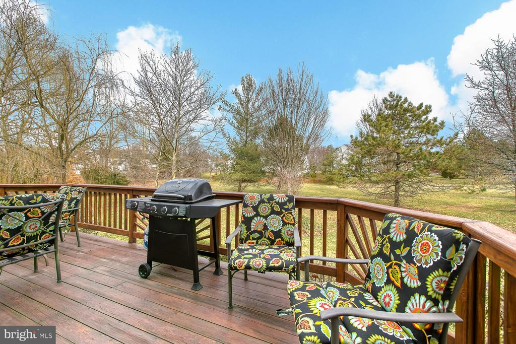 Backyard features a deck and backs to common area - 43976 BRUCETON MILLS CIR, ASHBURN