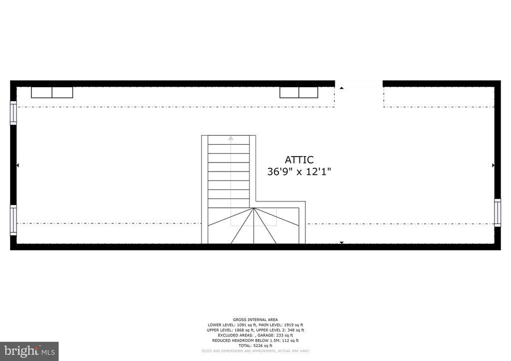 Floor plan - attic - 7600 GLENDALE RD, CHEVY CHASE