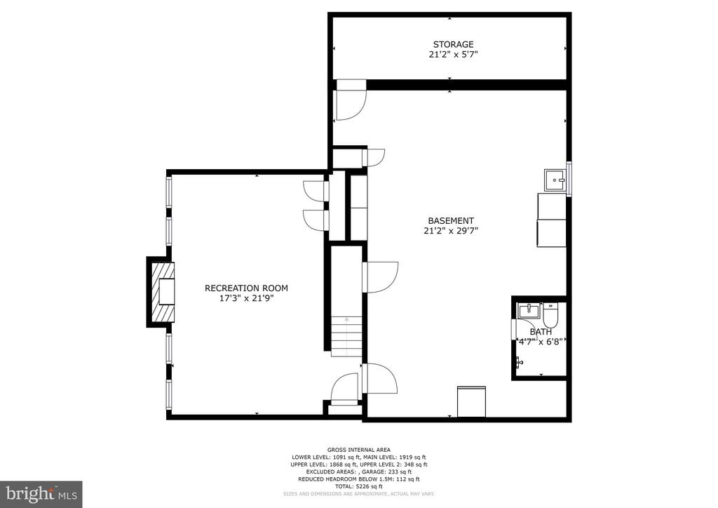 Floor plan - lower level - 7600 GLENDALE RD, CHEVY CHASE