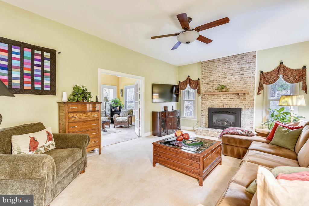 Stone fireplace in the family room - 12400 FAIRFAX STATION RD, CLIFTON