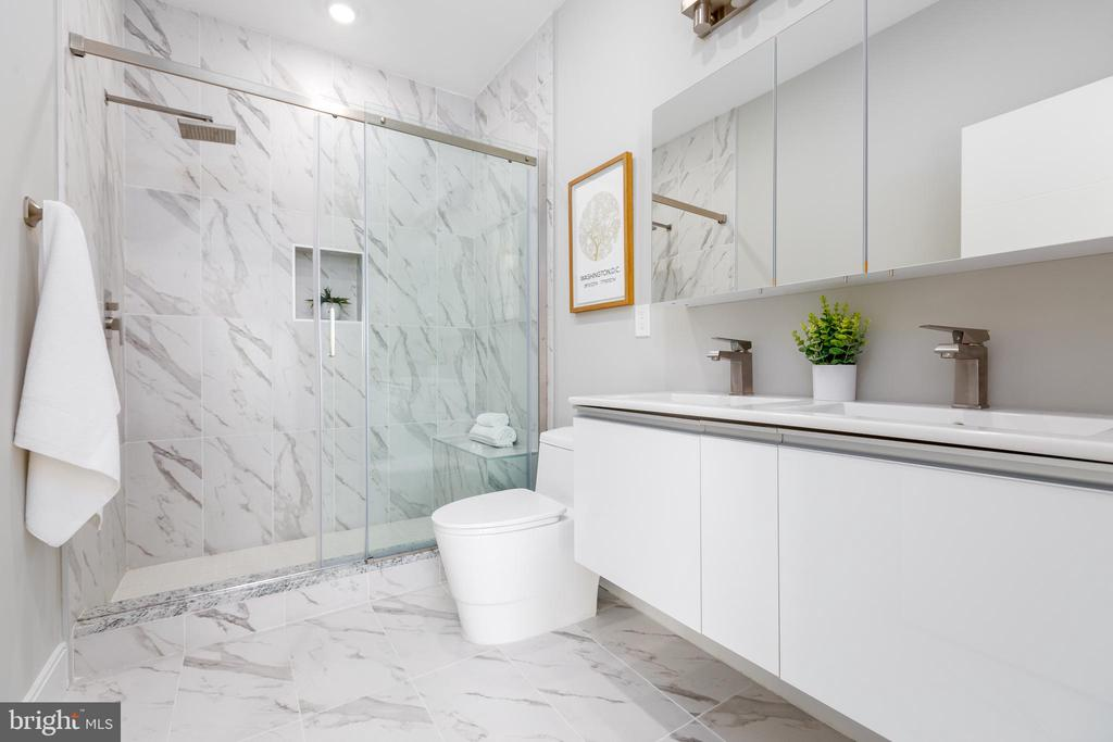 Italian White Carrara Tile and double vanity - 2812 GEORGIA AVE NW #9, WASHINGTON