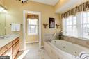 Main level owner's bathroom, soaking tub - 2407 FLAG MARSH RD, MOUNT AIRY