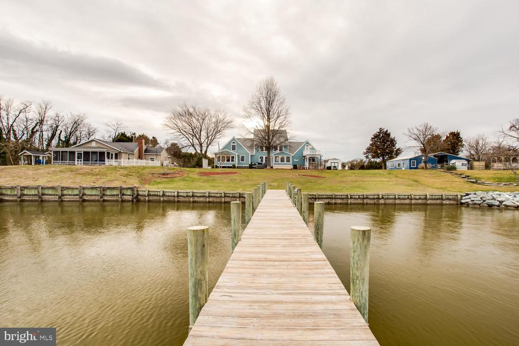 View from the end of the  pier toward the house. - 15798 LANCASTER FARM RD, NEWBURG