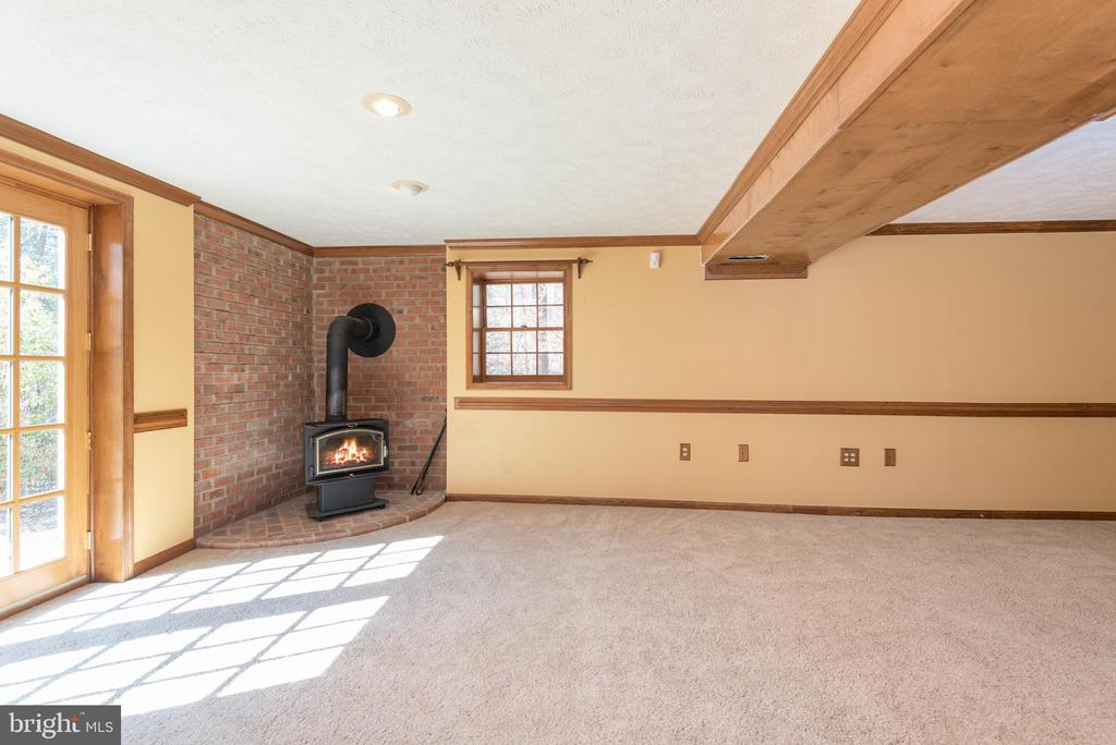 Corner wood burning stove in recreation room - 42 MOURNING DOVE DR, STAFFORD