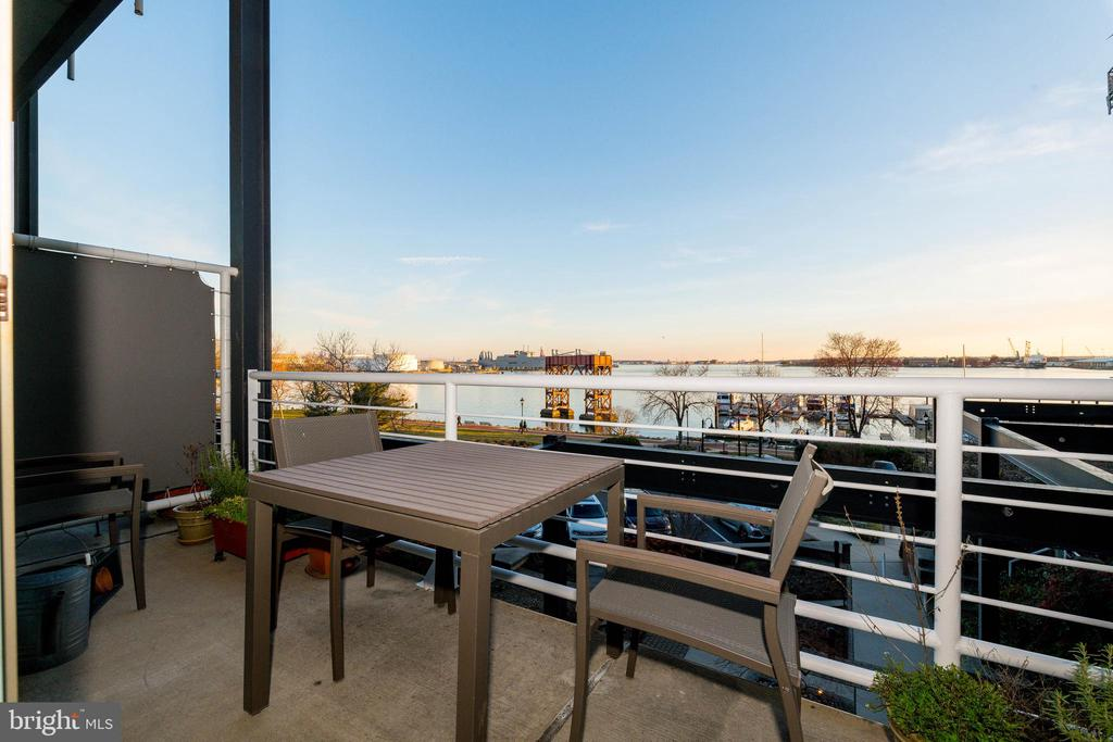 Balcony with expansive water vistas. - 2901 BOSTON ST #214, BALTIMORE