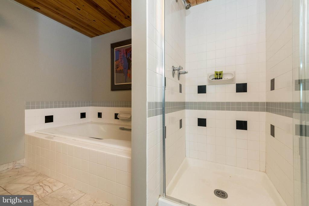 Guest bath complete with shower and soaking tub. - 2901 BOSTON ST #214, BALTIMORE