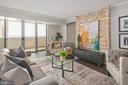 Living Room & Private Balcony w Unobstructed Views - 4601 N PARK AVE #1706, CHEVY CHASE