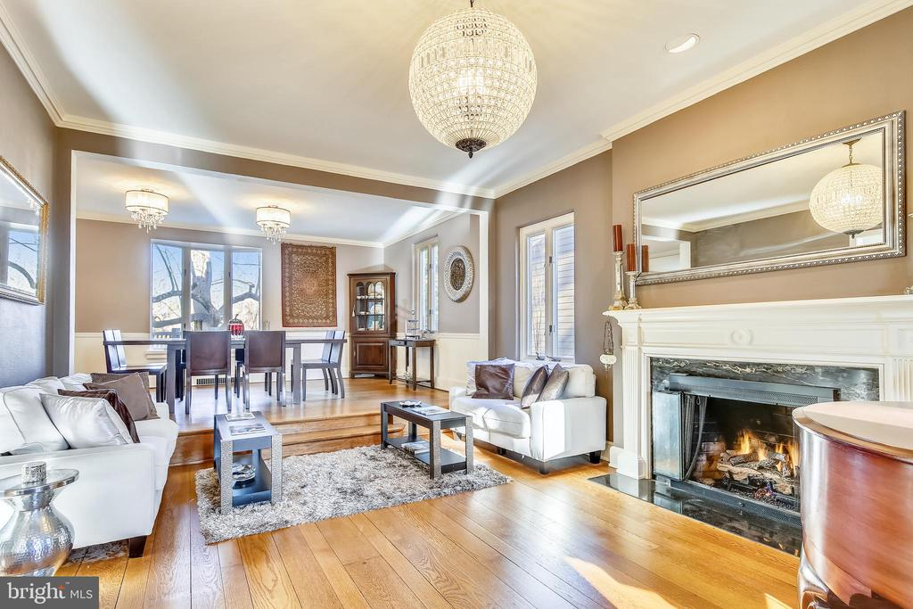 Living room with hardwoods and mouldings - 2607 31ST ST NW, WASHINGTON