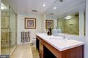 Master Bathroom With Tan Marble and Dual Sinks - 912 F ST NW #1106, WASHINGTON