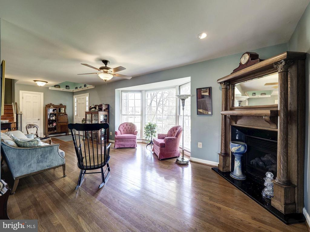 Living Room with Antique Fireplace - 7800 PERSIMMON TREE LN, BETHESDA