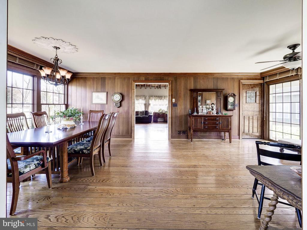 Dining Room with Cherry Paneling - 7800 PERSIMMON TREE LN, BETHESDA