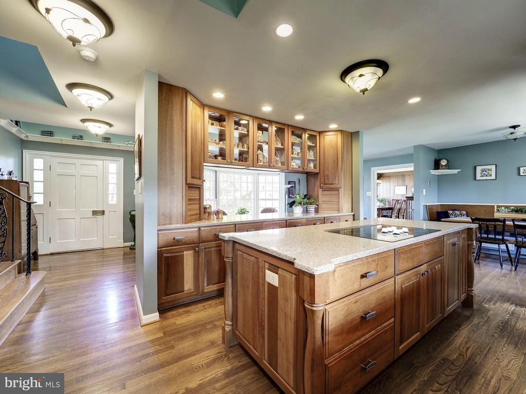 Open Kitchen with Lighted Built-in Buffet - 7800 PERSIMMON TREE LN, BETHESDA