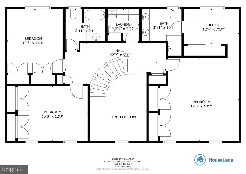 Upper Level Floor Plan - 8511 CATHEDRAL FOREST DR, FAIRFAX STATION
