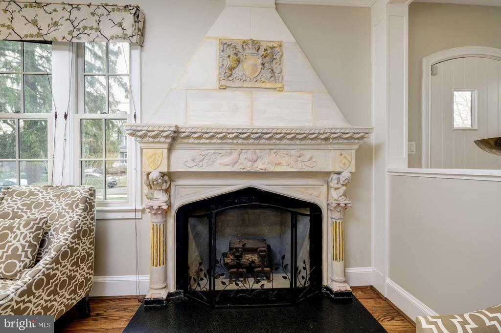 Restored carved original wood-burning fireplace - 4405 RIDGE ST, CHEVY CHASE