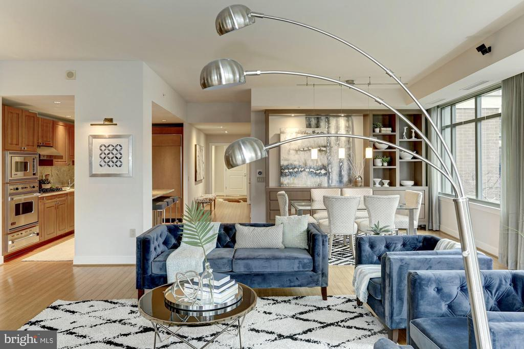 Open living, kitchen and dining floor plan - 2425 L ST NW #203, WASHINGTON