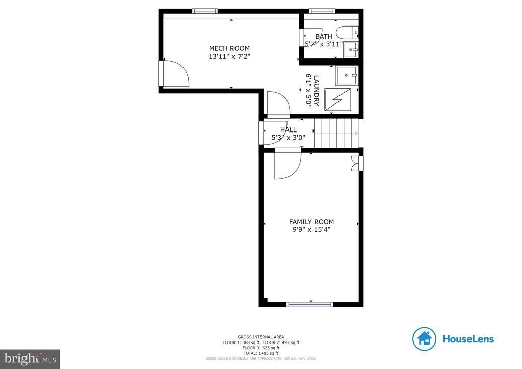 Floor Plan of Lower Level- Den, bath and storage - 10822 CHARLES DR, FAIRFAX