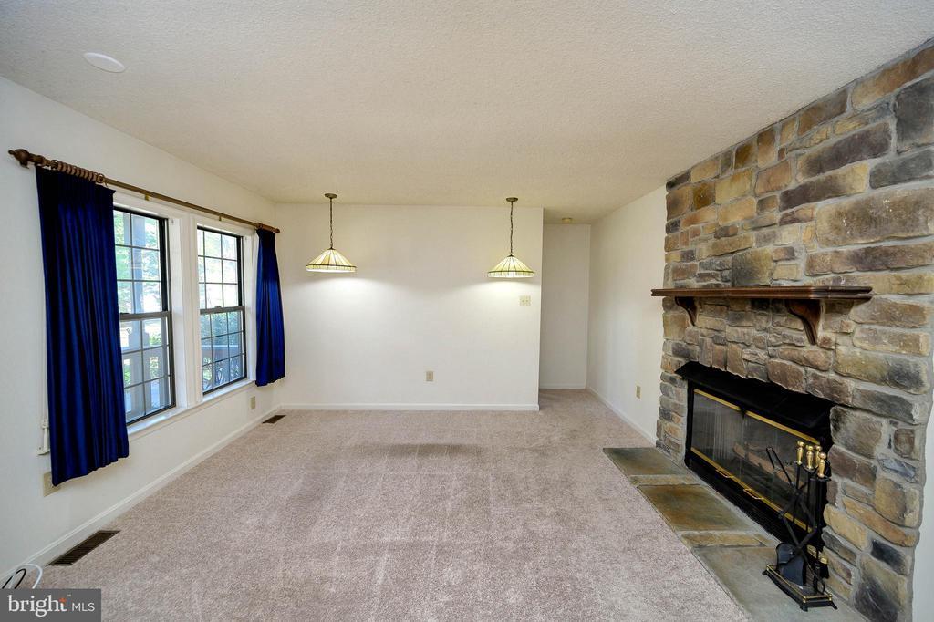 Living Room with  gorgeous stone fireplace. - 327 BIRCHSIDE CIR, LOCUST GROVE