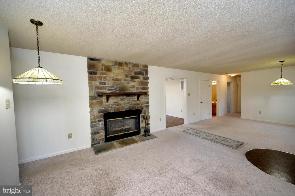 Gorgeous ceiling to floor stone fireplace. - 327 BIRCHSIDE CIR, LOCUST GROVE