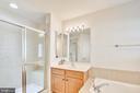 Master bathroom - separate shower his/her sinks - 147 HERNDON MILL CIR, HERNDON