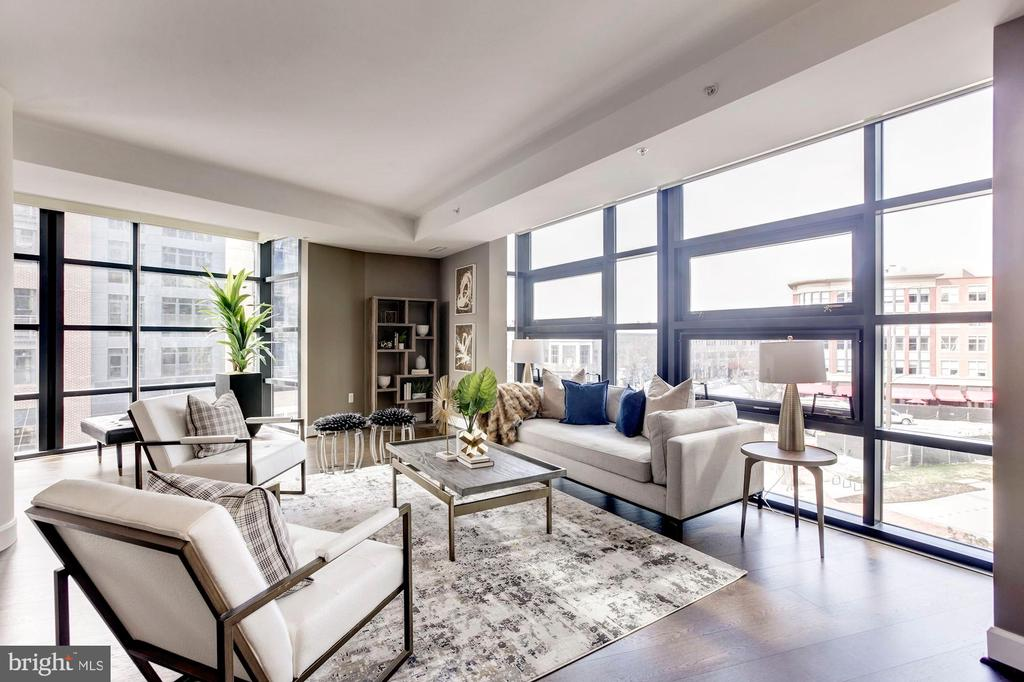 Open Concept Living Room and Dining Area - 7171 WOODMONT AVE #301, BETHESDA