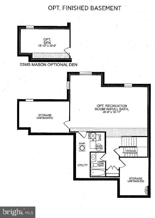 Lower Lvl Floorplan with Den - 23578 PROSPERITY RIDGE PL, BRAMBLETON