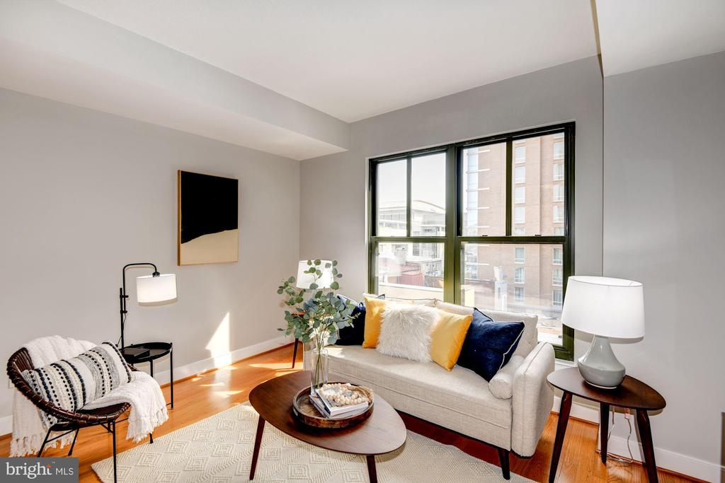 Living Room Receives Abundance of Sunlight! - 910 M ST NW #525, WASHINGTON