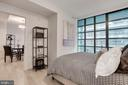 Master bedroom wall of windows w/blackout shade - 45 SUTTON SQ SW #704, WASHINGTON