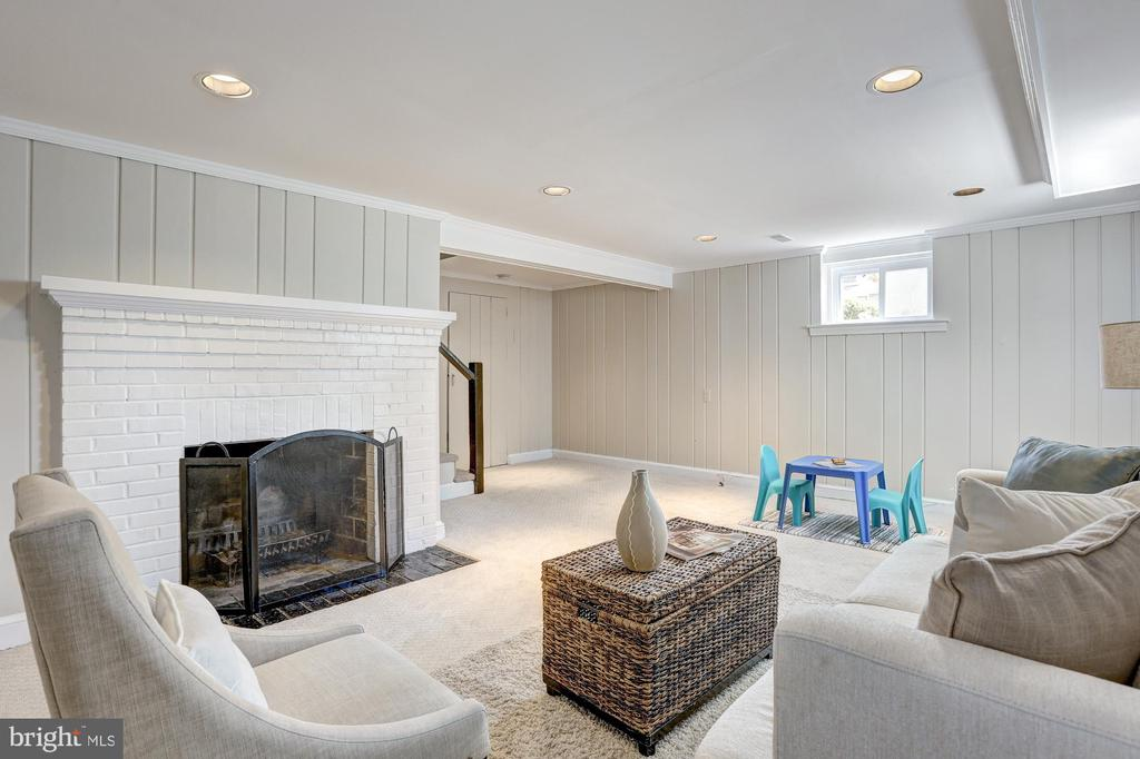 Lower level family room, wood burning firplace #2 - 2366 N OAKLAND ST, ARLINGTON