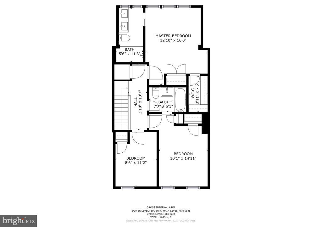 Upper Level Floor Plan - 207 VARNUM ST NW, WASHINGTON