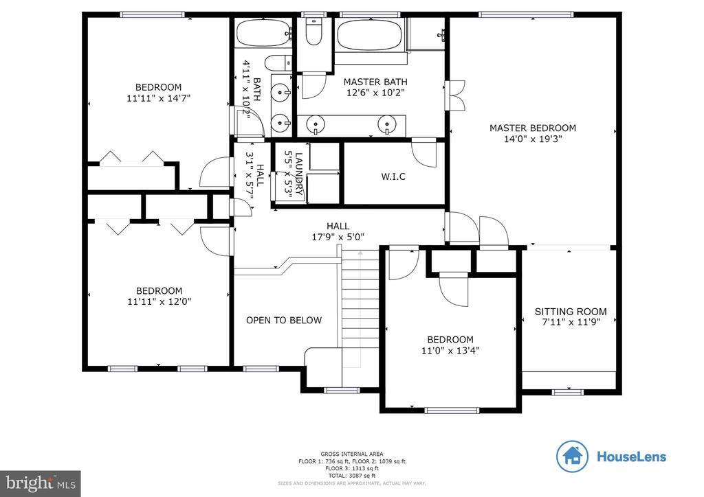 Upper Level Floor Plan - 3551 ESKEW CT, WOODBRIDGE