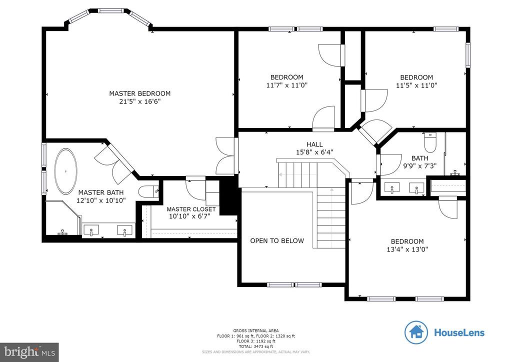 Upper Level Floor Plan - 16731 TINTAGEL CT, DUMFRIES
