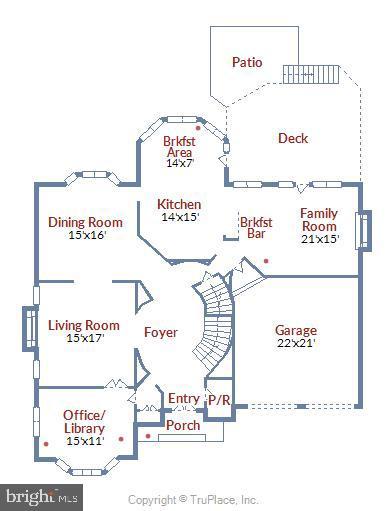 Main Level Floorplan - 6308 MOUNTAIN BRANCH CT, BETHESDA