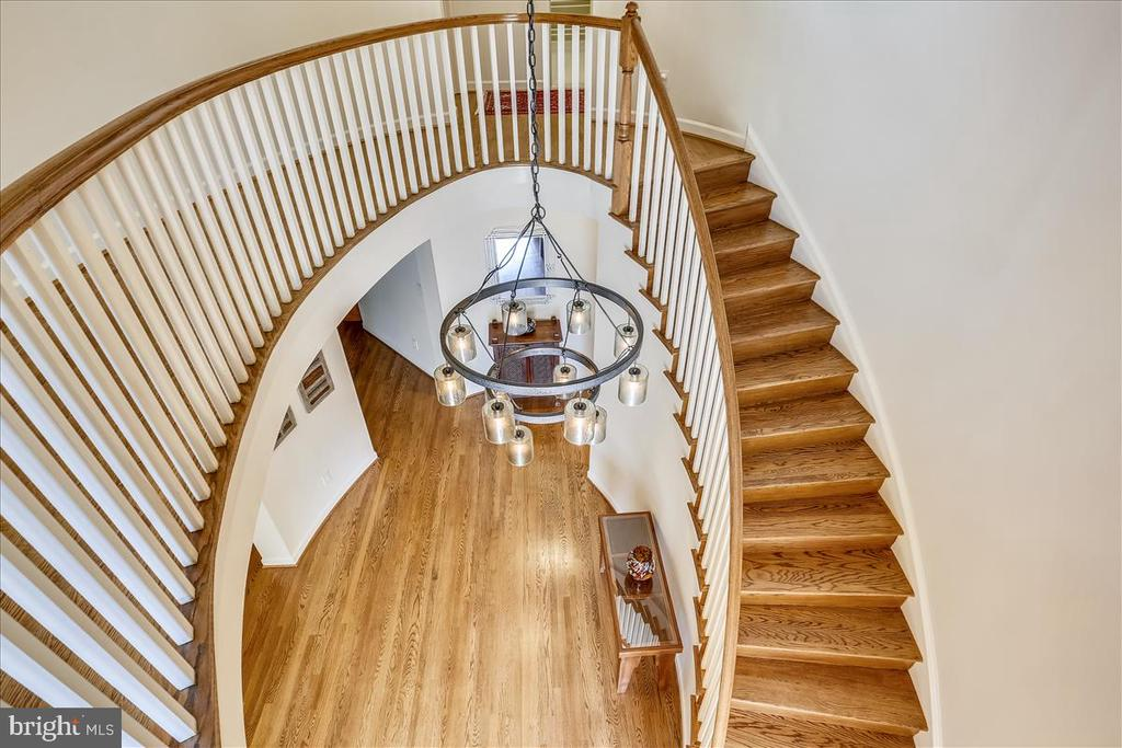 View from Upper level Hallway of Entrance Foyer - 6308 MOUNTAIN BRANCH CT, BETHESDA