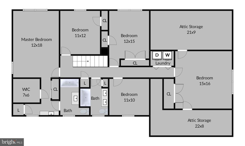 Upper Level Floor Plan - 7308 S VIEW CT, FAIRFAX STATION
