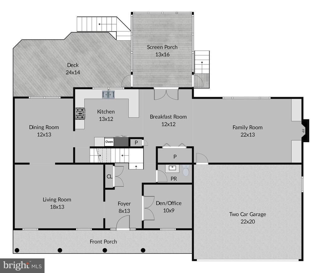 Main Level Floor Plan - 7308 S VIEW CT, FAIRFAX STATION